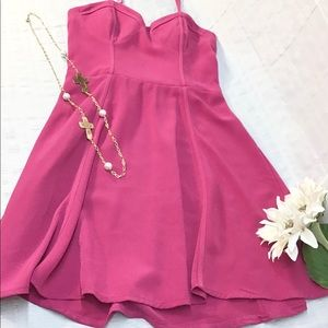 Candies pink spaghetti strap fit & flare dress med